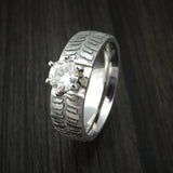 Cobalt Chrome Carved Tread Design Ring with Moissanite Custom Made Band