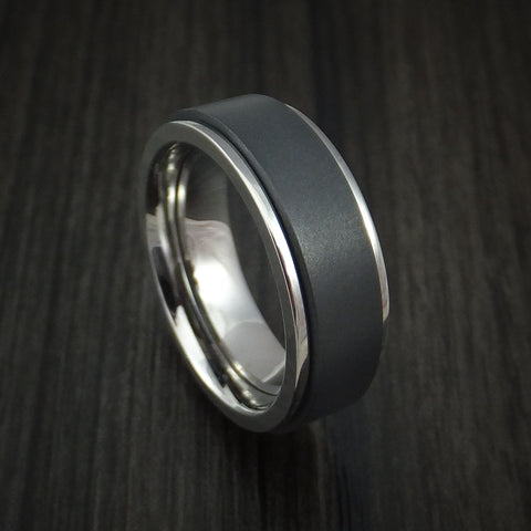 Titanium and Black Zirconium Spinner Ring Custom Made Band