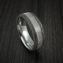 Damascus Steel and Antler Ring Custom Made Hunter Band