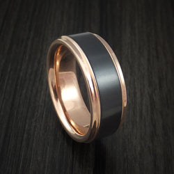 18K Rose Gold and Elysium Black Diamond Ring Custom Made Band