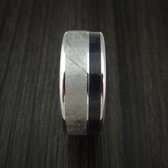 Cobalt Chrome and Gibeon Meteorite Ring with Blue Carbon Fiber Custom Made Band