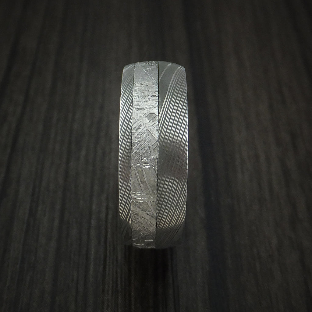 Damascus Steel Ring with Gibeon Meteorite and Charcoal Hardwood Sleeve Custom Made Band