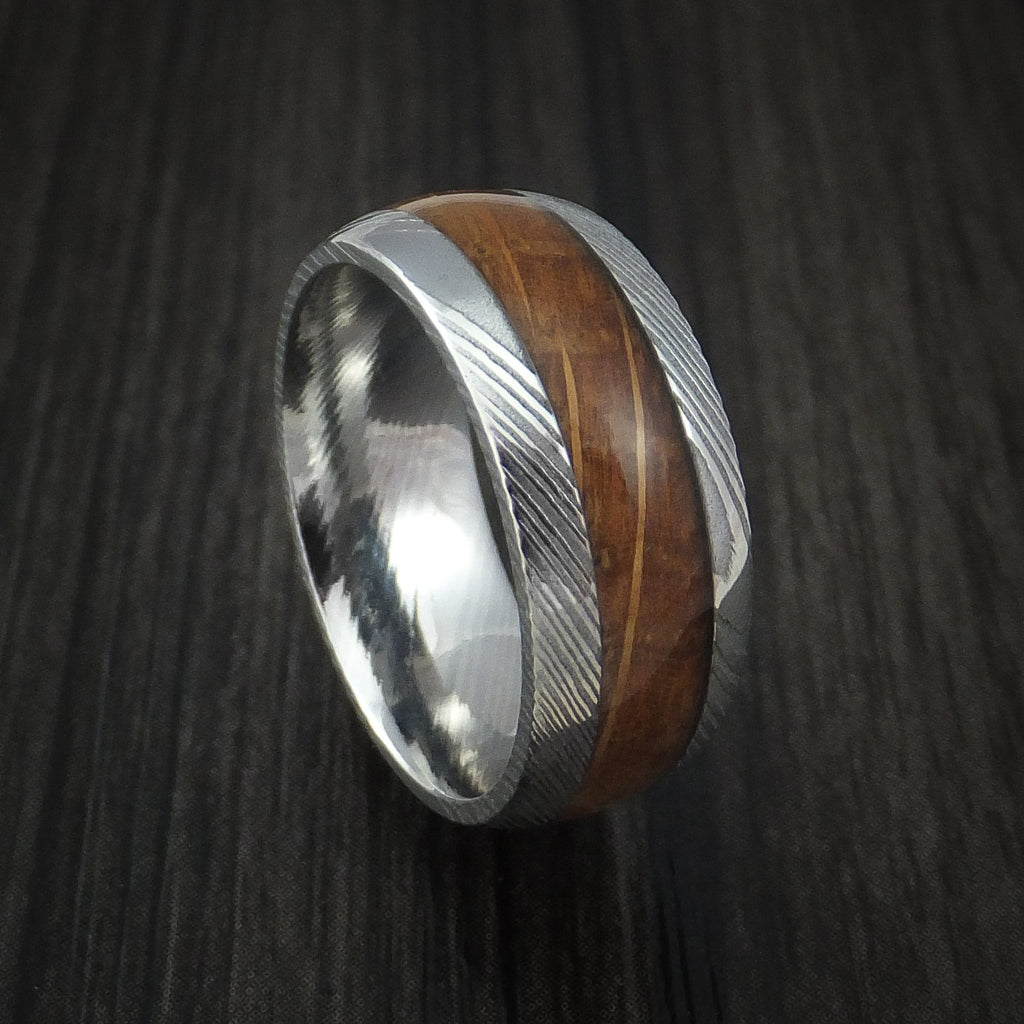 Damascus Steel Ring with Jack Daniels Whiskey Barrel Wood Inlay