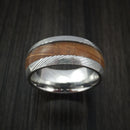 Damascus Steel Ring with Hardwood Inlay Custom Made