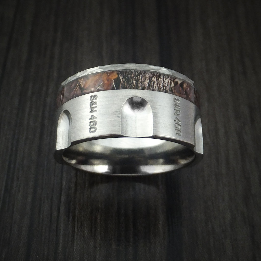 Titanium Revolver Ring with Kings Camo Woodland Shadow Inlay and Hammered Edge Custom Made