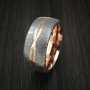 Damascus Steel 14K Rose Gold Celtic Knot Ring Infinity Design with Sleeve Wedding Band