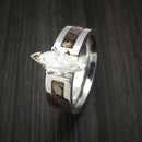King's Camo WOODLAND SHADOW and Cobalt Chrome Ring with Moissanite Setting Camo Style Band Made Custom