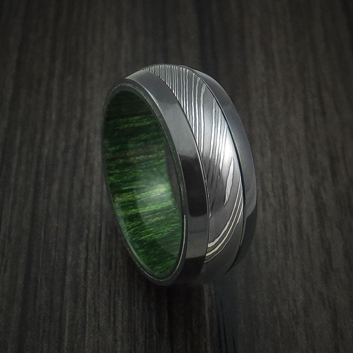 Black Zirconium and Damascus Steel Ring with Jade Wood Hardwood Interior Sleeve Custom Made