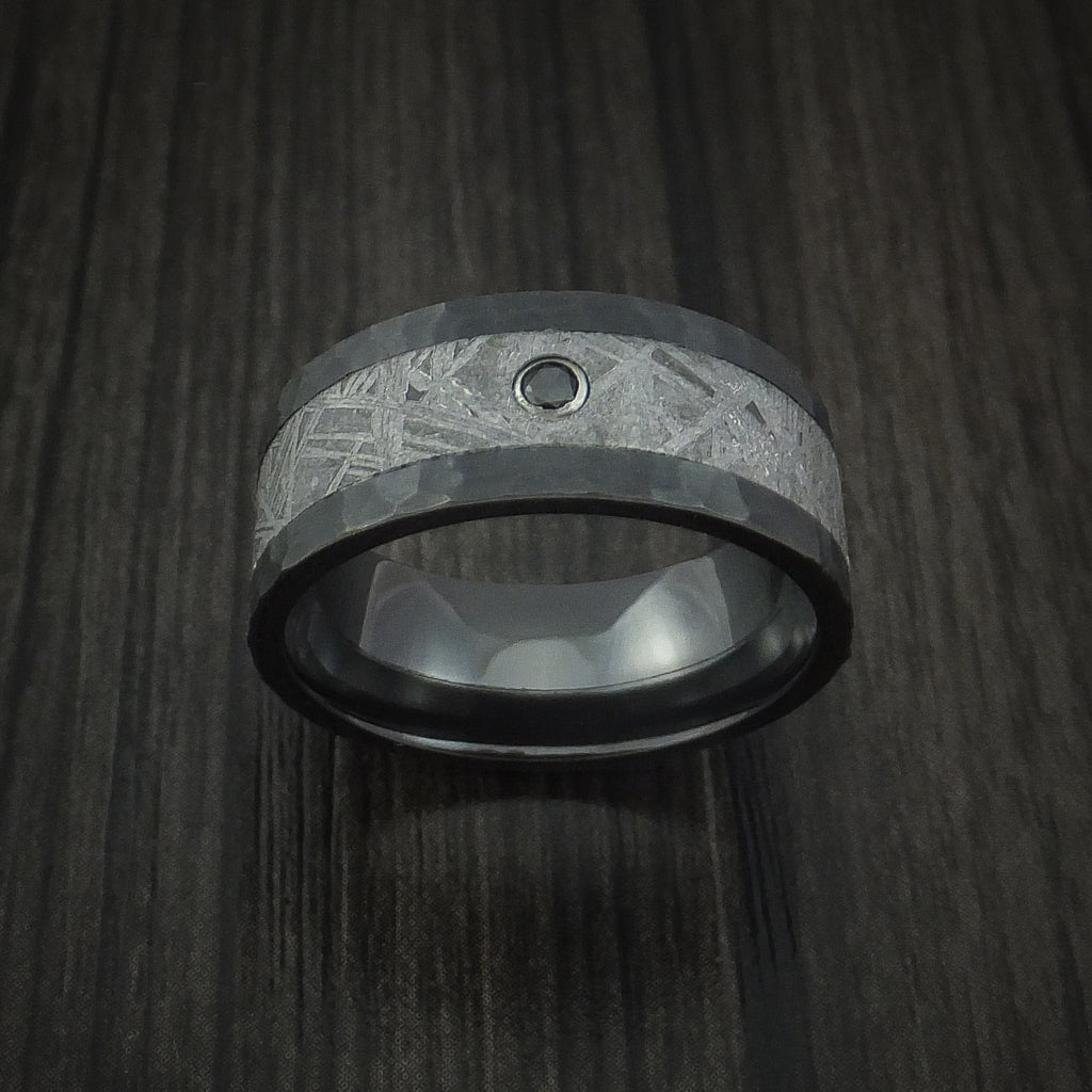 Black Zirconium Hammered Ring with Gibeon Meteorite and Black Diamond Custom Made Band