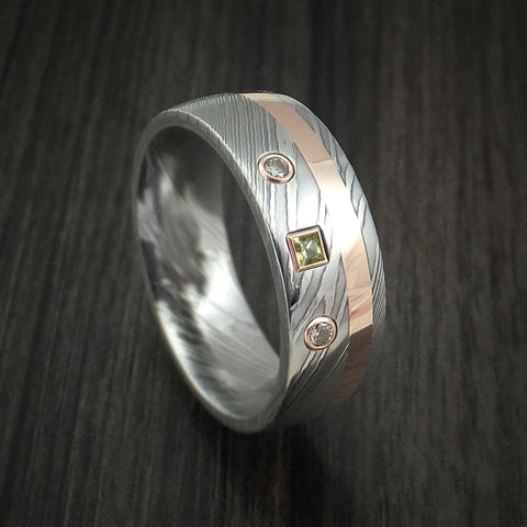 Damascus Steel Ring with Rose Gold, Diamond and Peridot Stone Custom Made Band