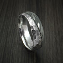 Damascus Steel Ring with Hammer Rock Finish Two Tone Custom Band