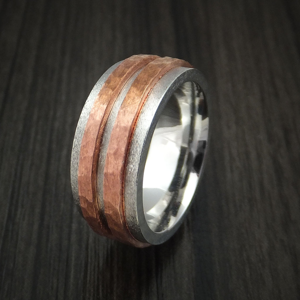 Cobalt Chrome Ring with Raised Hammered Copper Inlays Custom Made Band