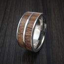 Wood Ring and Titanium Ring inlaid with Koa Wood Custom Made to Any Size and Optional Wood Types