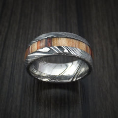 Kuro Damascus Steel Ring with Hazelnut Hardwood Inlay Custom Made Band