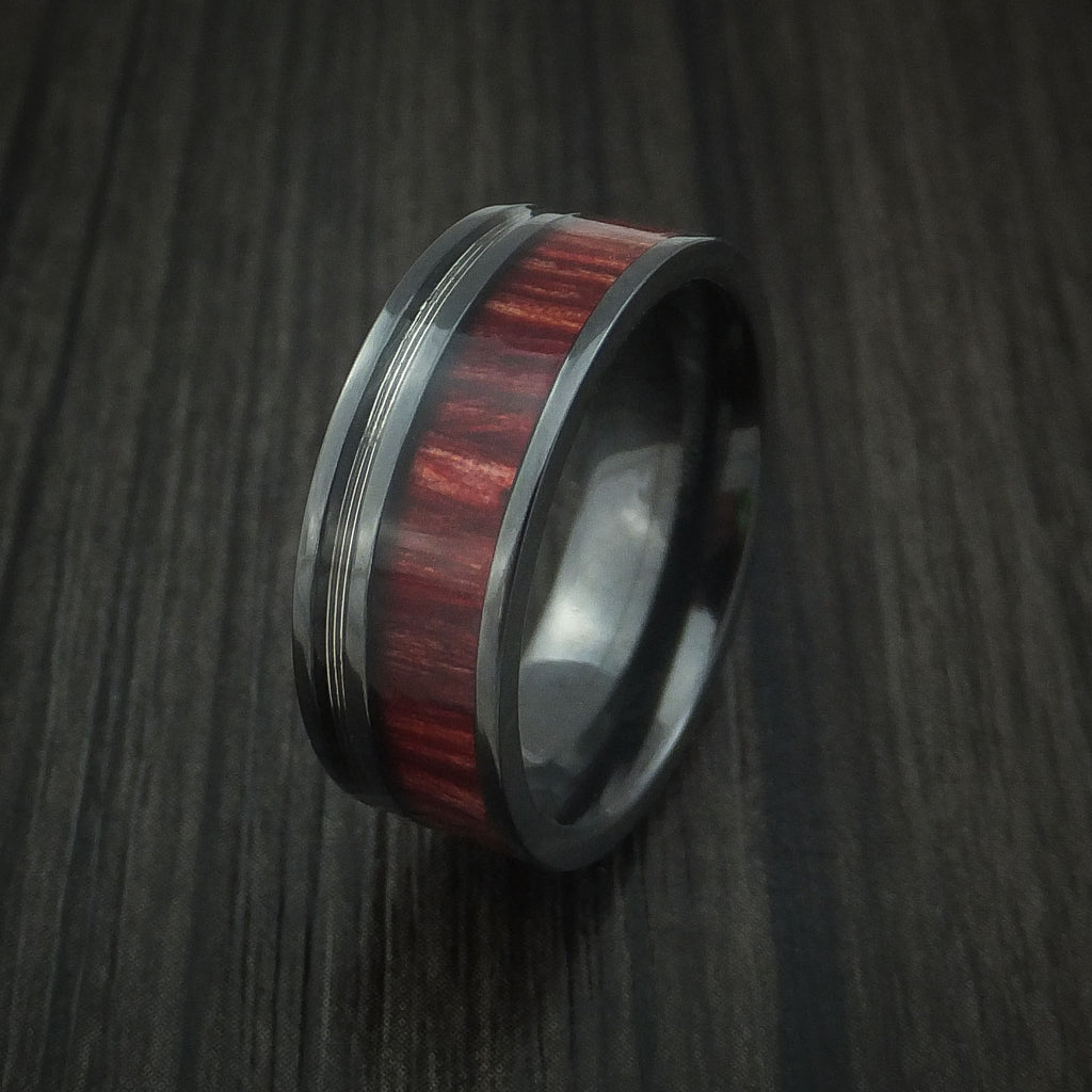 Black Zirconium Ring With Guitar String And Red Heart Wood Inlays Custom Made Band: Red String Wedding Rings At Reisefeber.org