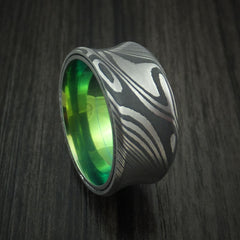 Damascus Steel Concave Ring with Green Anodized Titanium Sleeve Custom Made Band