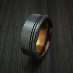 Black Zirconium Textured Ring with Bronze Anodized Center Custom Made Band