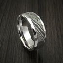 Cobalt Chrome and Damascus Steel Ring Custom Made Band with Rock Hammer Finish
