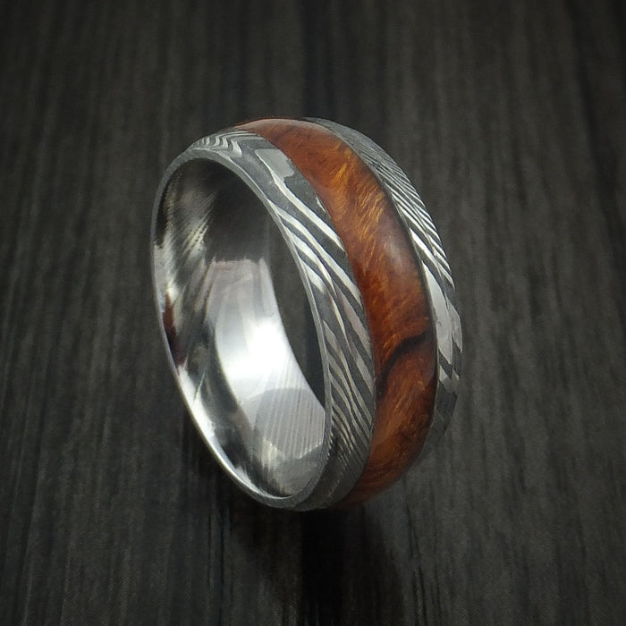 Damascus Steel Band with Desert Ironwood Burl Hardwood Inlay Custom Made Ring