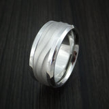 Cobalt Chrome and 14k White Gold Band Wave Pattern Custom Made Ring