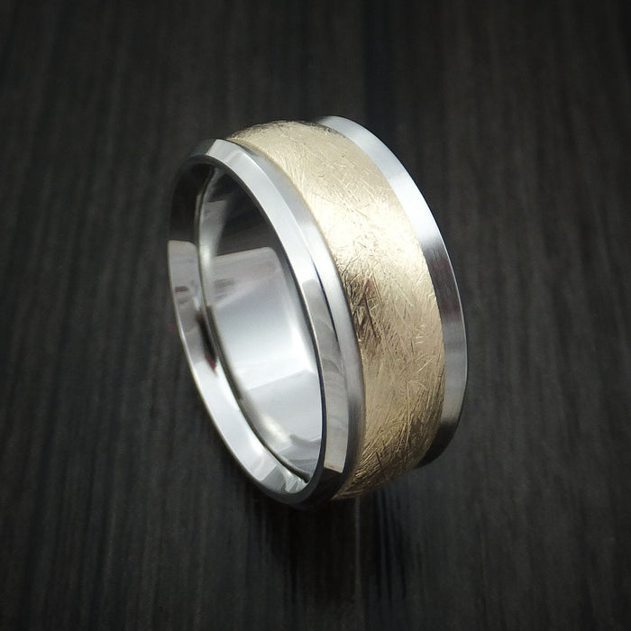 Cobalt Chrome and 14k Yellow Gold Band Distressed Texture Custom Made Ring