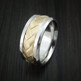 Cobalt Chrome and 14k Yellow Gold Band Weave Texture Custom Made Ring