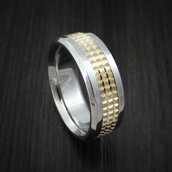 Cobalt Chrome and 14k Yellow Gold Band Textured Custom Made Ring