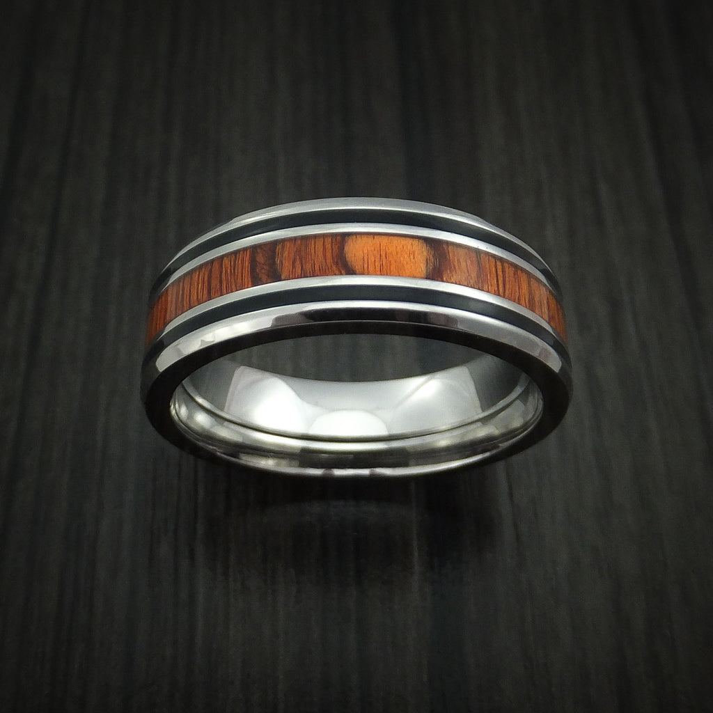 Titanium Ring with Cocobolo Inlay and Enamel Grooves Custom Made Band