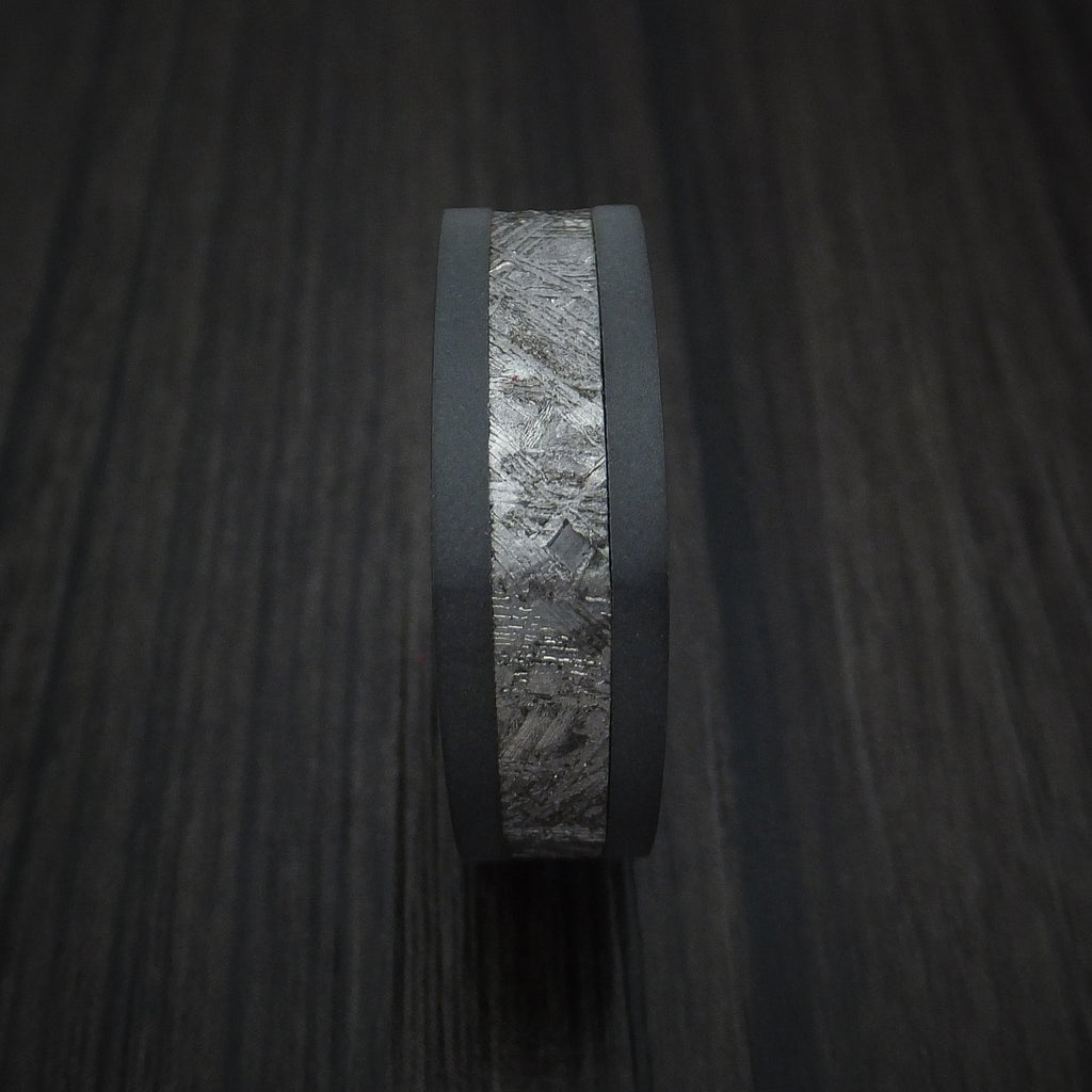 Black Zirconium Square Ring with Gibeon Meteorite and Anodized Titanium Sleeve Custom Made Band