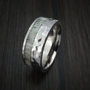 Titanium and Antler Rock Hammered Ring Custom Made Band