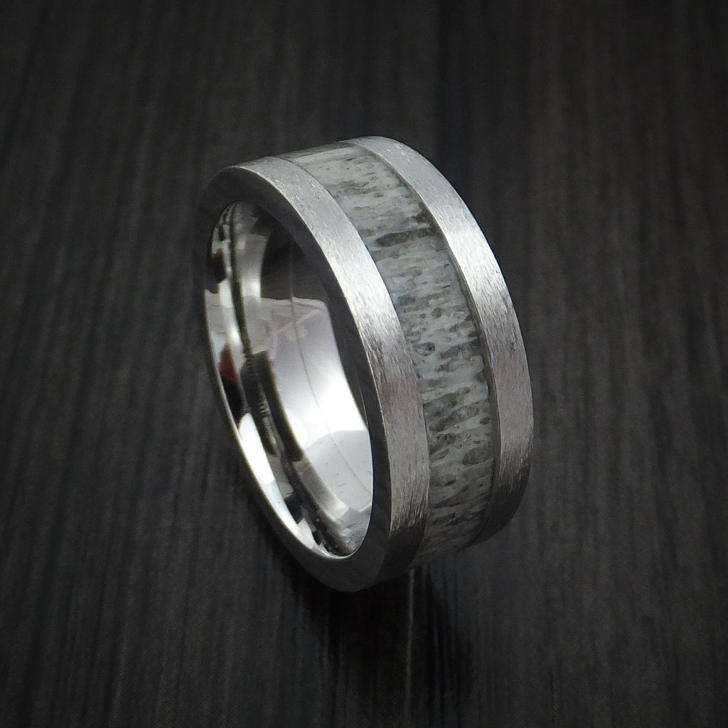 Cobalt Chrome and Antler Ring Custom Made Band