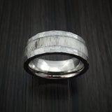 Titanium and Antler Hammered Ring Custom Made Band