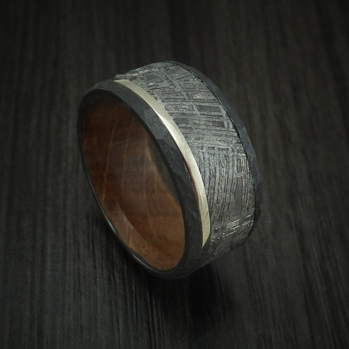 Black Zirconium and Meteorite Ring with Platinum and Wood Sleeve Custom Made