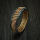 Black Zirconium Guitar String Ring With Hardwood Sleeve Custom Made Band