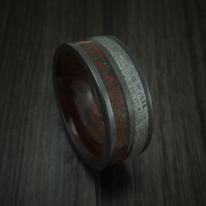 Black Zirconium Mixed Dinosaur Bone And Gibeon Meteorite Ring With Wood Sleeve Custom Made Fossil Band