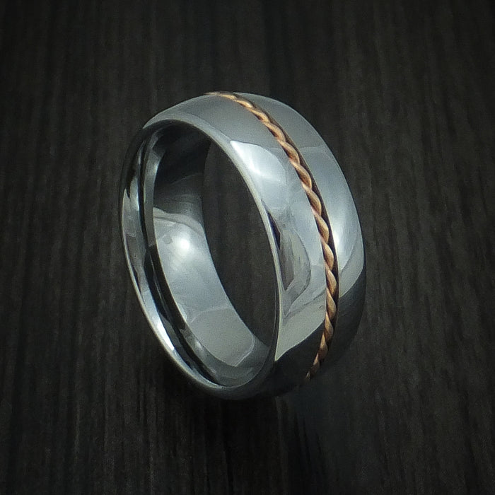 Tungsten Band with Rose Gold Inlay Custom Made Ring