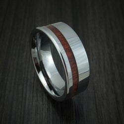 Tungsten Band with Blood Wood Inlay Custom Made Ring