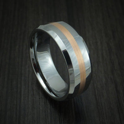 Tungsten Ring with 14k Rose Gold Inlay