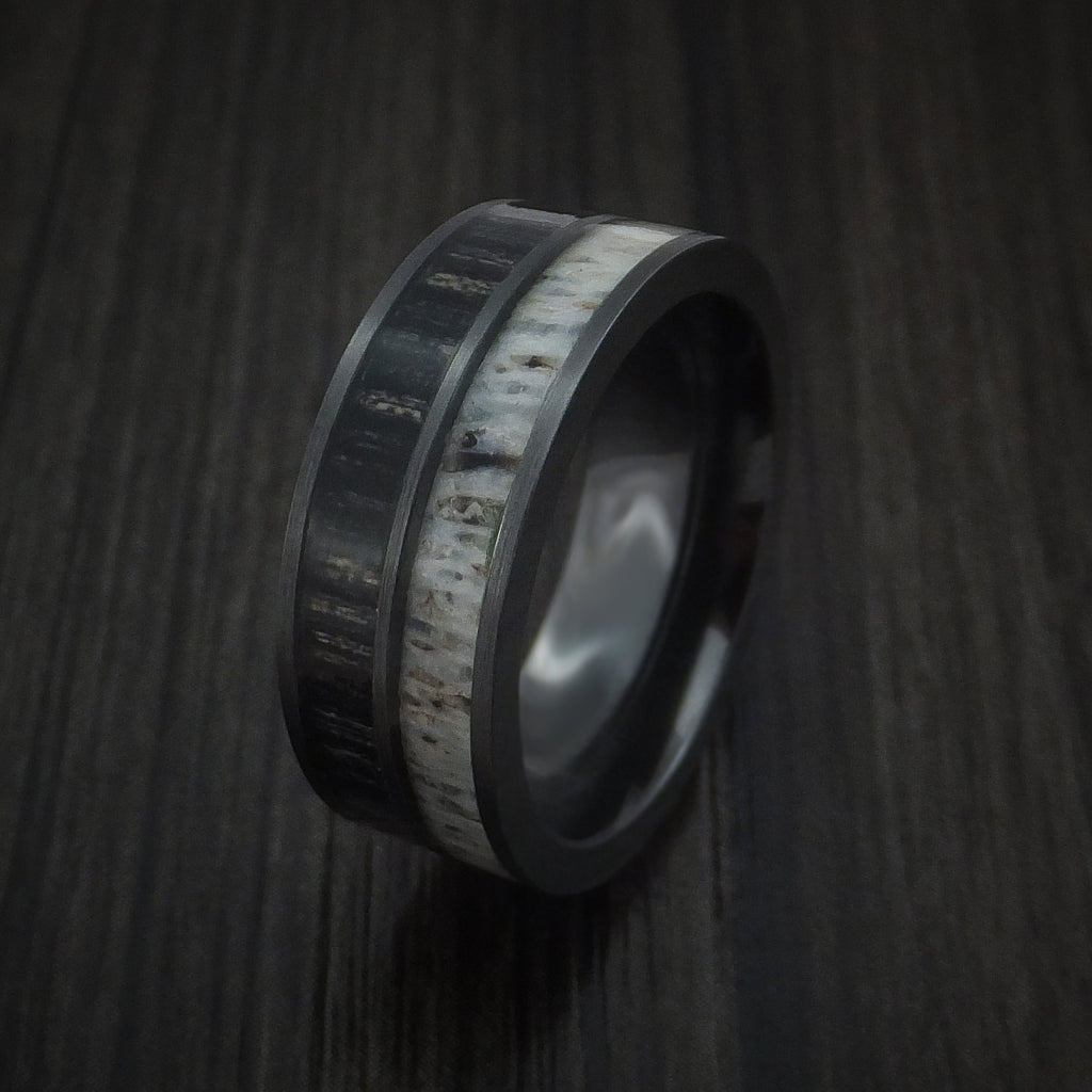 Black Zirconium with Charcoal Wood and Antler Ring Custom Made Band