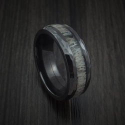 Black Zirconium ring with grey colored antler and lots of patterns