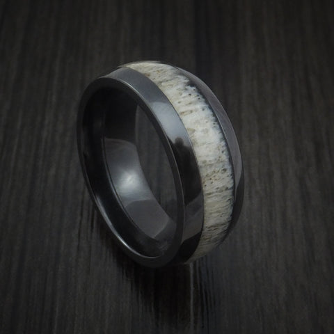 Black Zirconium and Antler Ring Custom Made Band