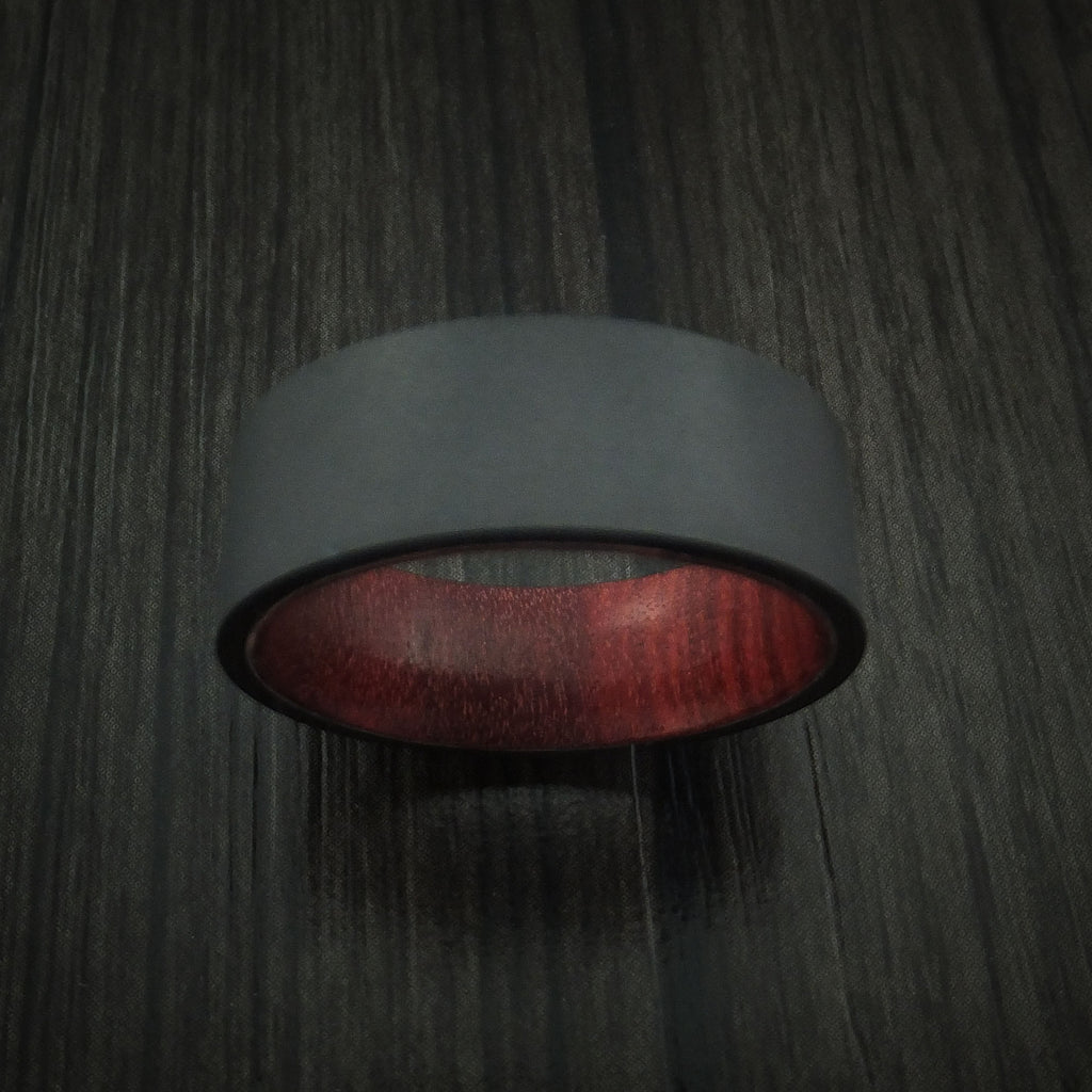 Black Zirconium Ring with Red Heart Hardwood Interior Sleeve Custom Made Band