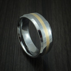 Tungsten Band with Yellow Gold Inlay Custom Made Ring