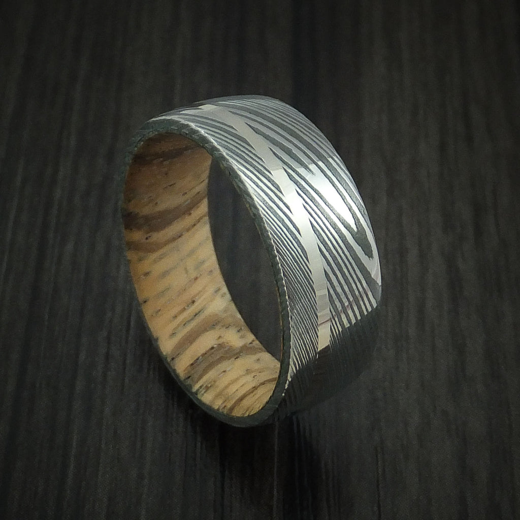 Damascus Steel Ring with 14k White Gold Inlay and Zebrawood Hardwood Interior Sleeve Custom Made Band