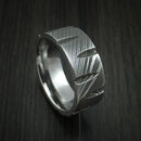 Damascus Steel Wedge Cut Ring Custom Made Band
