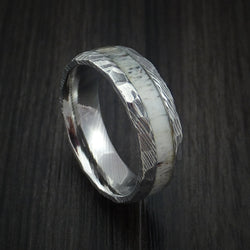 Damascus Steel ring with light colored antler and more defined patterns