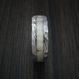 Damascus Steel and Antler Rock Hammered Ring Custom Made Band