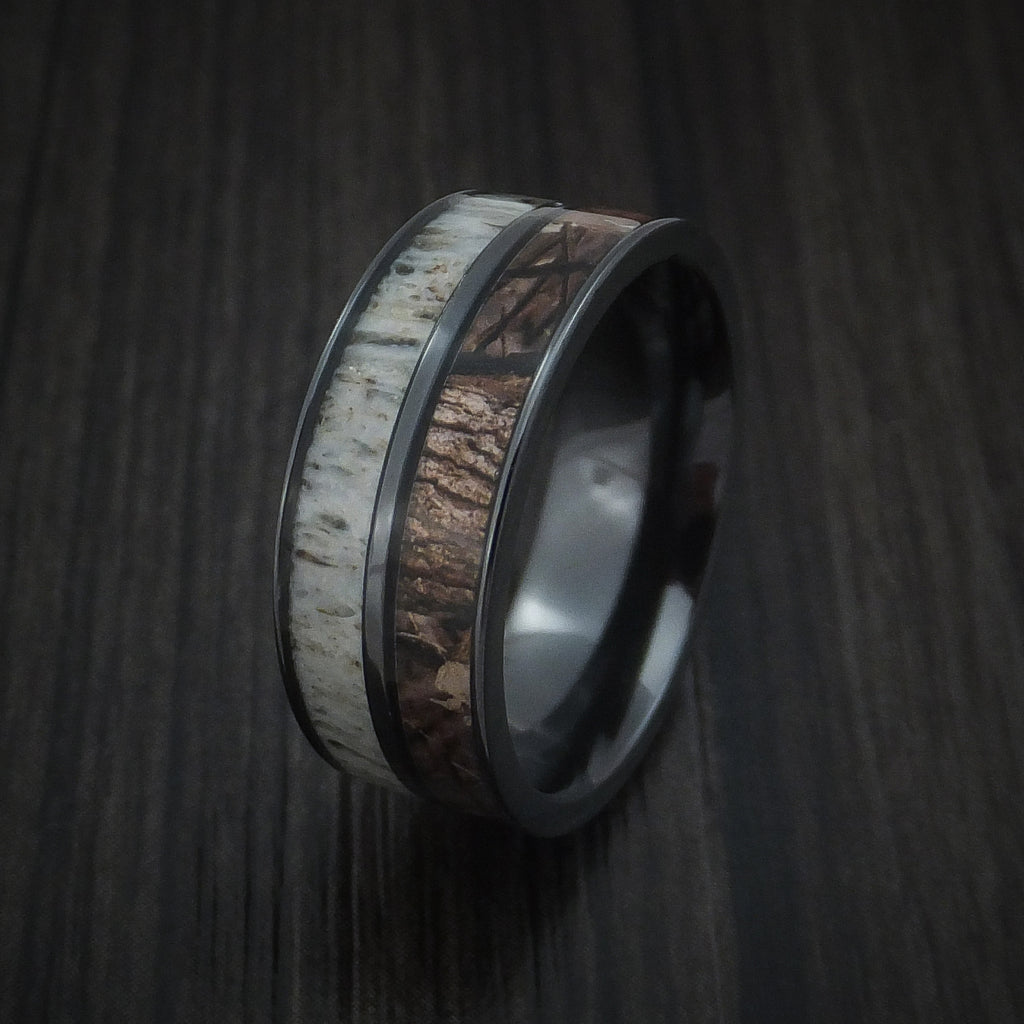 Black Zirconium Ring with King's Camo Woodland Shadow and Antler Inlays Custom Made Band