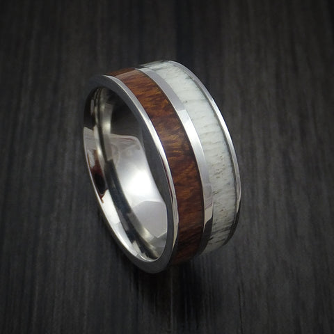 Titanium Ring with Desert Ironwood Burl Hardwood and Antler Inlays Custom Made Band