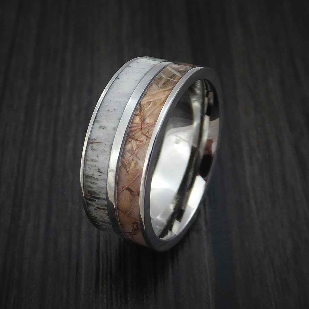 Titanium Ring With Camo And Antler Inlays Custom Made Wedding Band Revolution Jewelry Designs